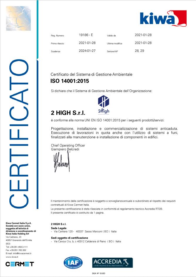 ISO 14001 Certificato del 28-01-2021