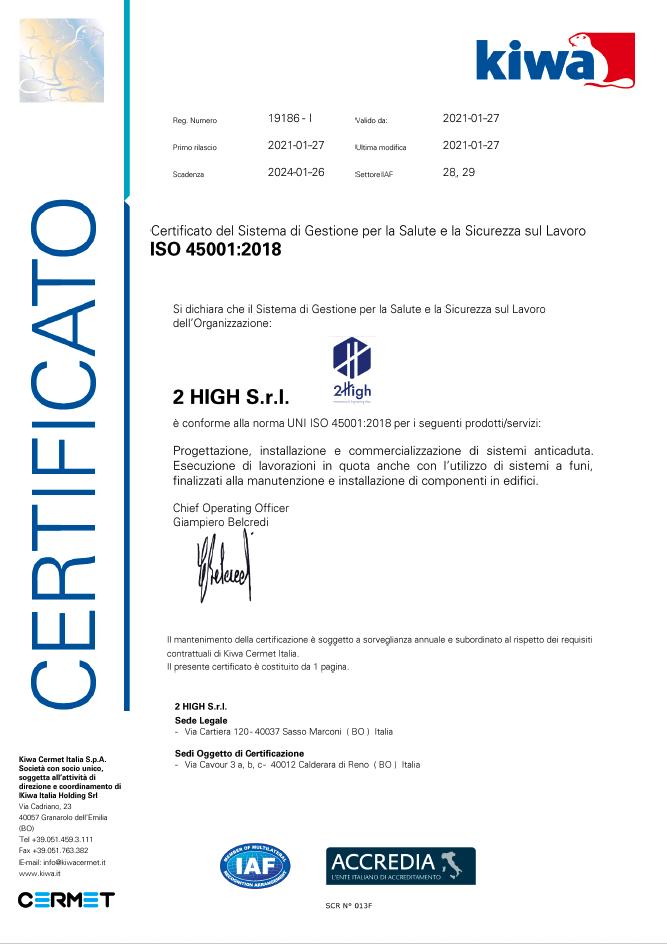 ISO 45001 Certificato del 27-01-2021