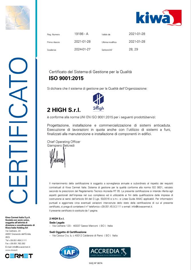 ISO 9001 Certificato del 28-01-2021
